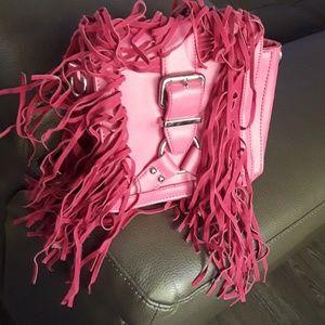 NWT fuschia fringe purse